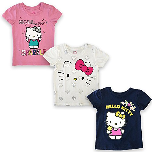 Sanrio- Hello Kitty Girls Short Sleeve T-shirt (Pack of 3) (Hello Toddlers Kitty)