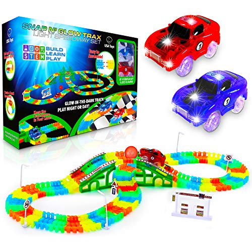 USA Toyz Glow Race Tracks for Boys and Girls - 360pk STEM Building Glow in The Dark Flexible Rainbow Race Track Set w/ 2 Light Up Toy Cars (Tuning Toy Car)