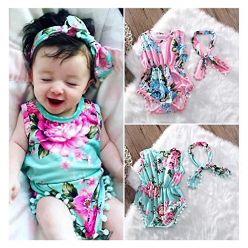 Newborn Infant Toddler Baby Girl Romper Floral Pompom Tassels Bodysuit Sleeveless Jumpsuit Headband Cusual Clothes Sets