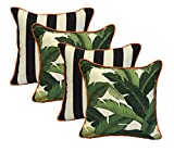 Set of 4 - Indoor / Outdoor 17'' Square Decorative Throw / Toss Pillows - Black and White Stripe & Tommy Bahama Green Tropical Swaying Palms w/ Orange Piping / Cording - Zipper Cover & Insert
