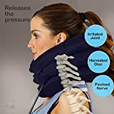 Cervical Spine Neck Traction Device, Inflatable Neck Brace, Neck Collar Support For Pain Relief, What The Doctor Recommends By Lovely Home (dark blue)