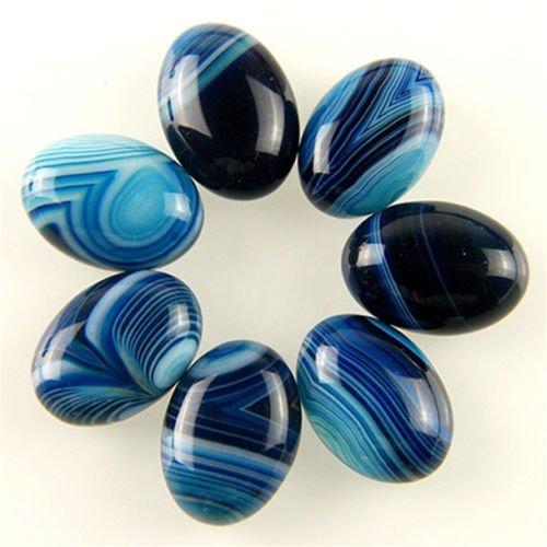 DealShow(TM) 7pcs 18x13mm Charming Blue Onyx Agate Oval Cab Cabochon M-XL64RL