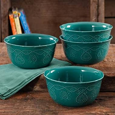 The Pioneer Sophisticated, Stylish, Durable Stoneware, Dishwasher Safe, Microwave Safe, Woman Cowgirl Lace Transparent Glaze 4-Pack Kitchen Dining and Entertaining, Dinnerware Bowls in Teal
