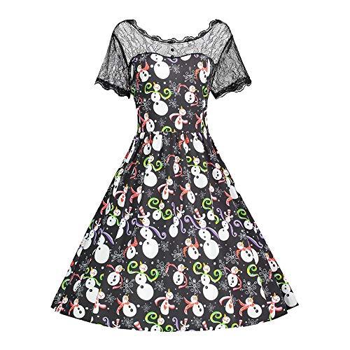 - iDWZA Women Retro Christmas Snowman Print Lace Dress A Line Silhouette Dresses(2XL,Black)