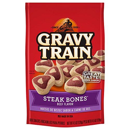 Gravy Train 079100513659 4.5 oz Steak Bones Beef Flavor Dog Snacks (Pack of 12), One Size (Gravy Train Beef Flavor)