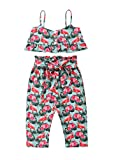 VISGOGO Kids Baby Girls Flamingo Off Shoulder Crop Tops + Pants Outfits Clothes Set 2PCS (1-2 Years)