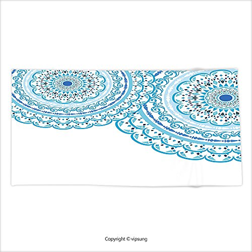 Vipsung Microfiber Ultra Soft Hand Towel Mandala Decor Wedding Invitation Card Theme Lace Mandala And Place For Text Print Sky Blue Light Blue For Hotel Spa Beach Pool Bath