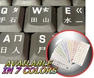 CHINESE KEYBOARD STICKERS TRANSPARENT BACKGROUND WITH WHITE LETTERING