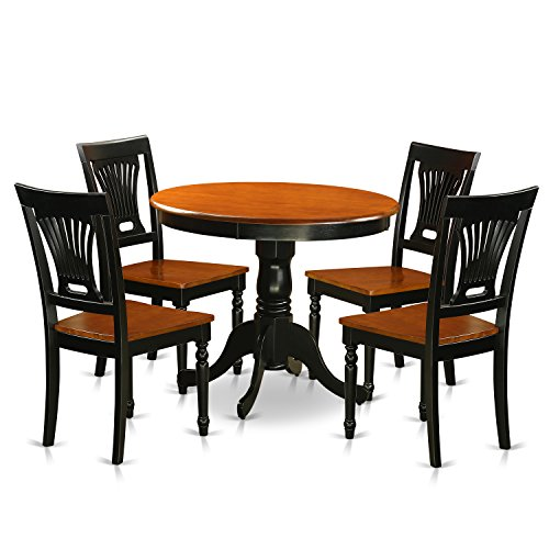 East West Furniture ANPL5-BLK-W 5 Piece with 4 Wooden Chairs Antique Dining Set