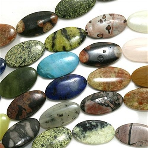 Gemstone Bead Mix 12 x 22mm Flat Oval Beads /15.5 Inch Strand