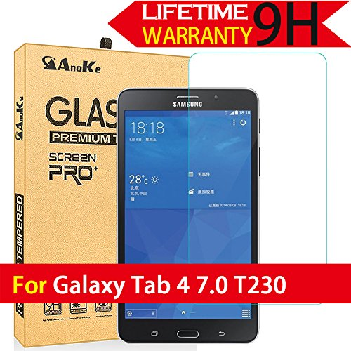 Galaxy Tab 4 7.0 Glass Screen Protector, (T230 2014 Not Fit T231) AnoKe [Lifetime Warranty](0.3mm 9H) Tempered Film Sheild For 7.0 T230 Glass