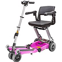 Free Rider USA - Luggie Elite - Compact Lightweight Foldable Scooter - 4-Wheel - Pink