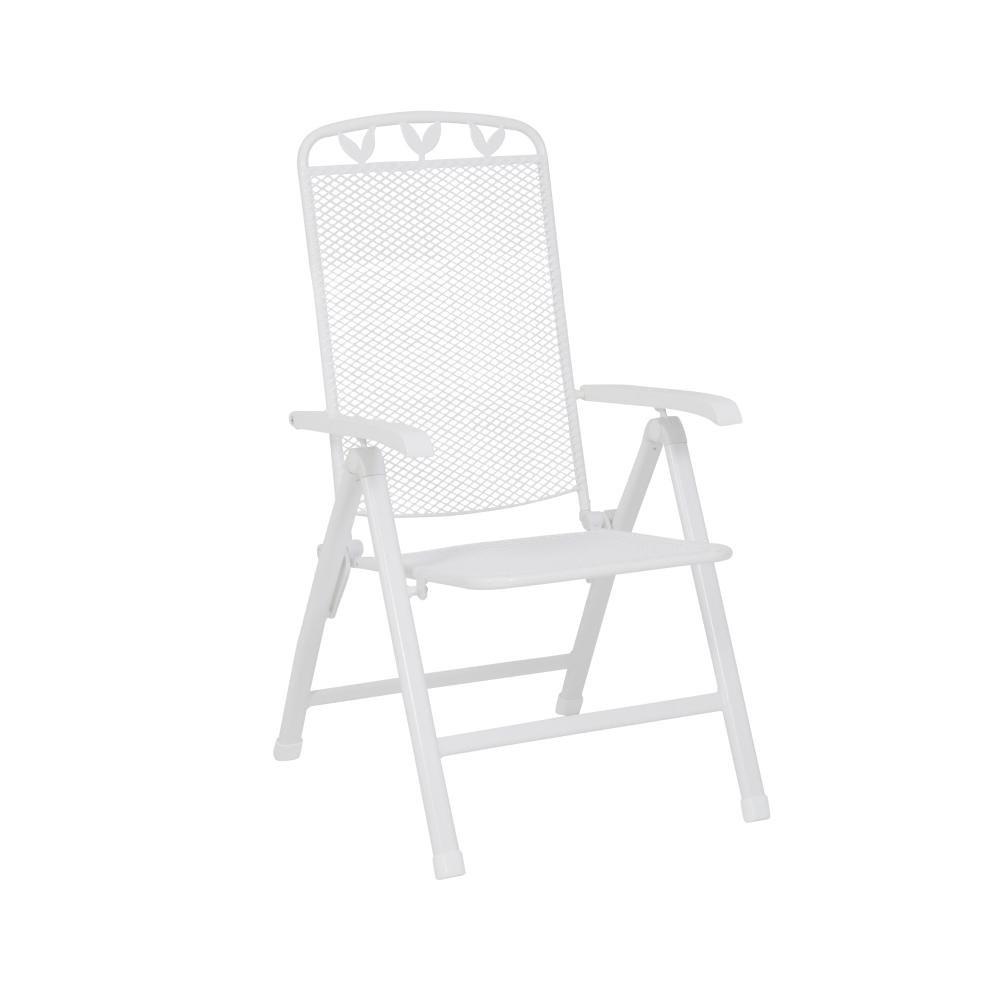 greemotion 4 Stück Klappstuhl Toulouse, 5-Fach verstellbar, Gartenstuhl aus Stahl/Kunststoff-ummantelt, 58 x 108 x 64 cm, Sitzhöhe 44 cm, weiß