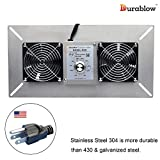 Durablow Stainless Steel 304 Crawl Space Foundation Dual Fans Ventilator + Built-in Dehumidistat, 220 CFM (Model: MFB M2D)