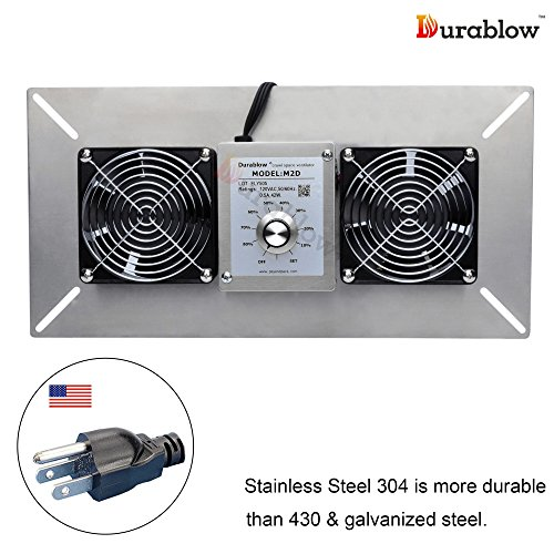 Durablow Stainless Steel Crawl Space Foundation Dual Fans Ventilator + Built-in Dehumidistat Freeze protection thermostat (Stainless Steel 304, M2D)