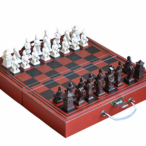 initiative letter Terracotta Warriors Style Chess with Board and Pieces Can Folding and Storage Hand Crafted Wood Tactics Chess