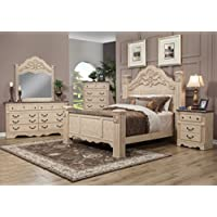 Sandberg Furniture Amalfi Estate Bedroom Set, Queen, Warm Bisque Oak