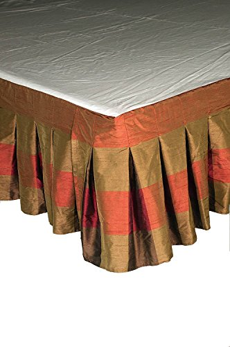 "Ds Brown Red Buffalo Checks Inverted Pleats Faux Silk Bed Skirt / Dust Ruffles 18"" Drop (King)"