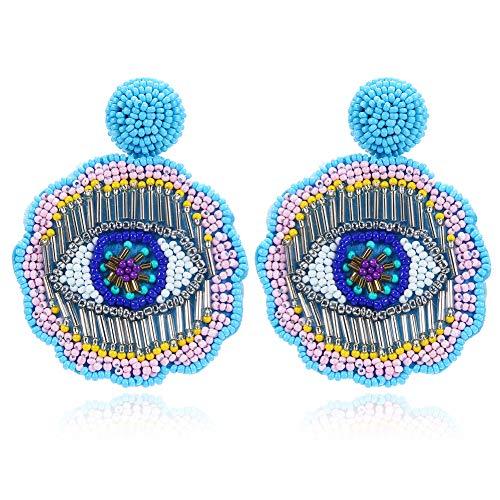 Beaded Copper Pendant - Royalbeier Round Sead Beaded Earrings Handmade Eye Pattern Flower Pendant Earrings Gift for Womens Ladies (Blue Eyes)