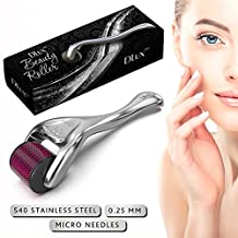 """Microneedle Derma Roller with Protective Kit :: New 2018 Model :: Stainless Steel 0.25mm Microneedles :: 540 Exfoliating Needles :: Micro Roller for Face Hair and Acne :: """"Deep Purple"""" Beauty Roller by DLux"""