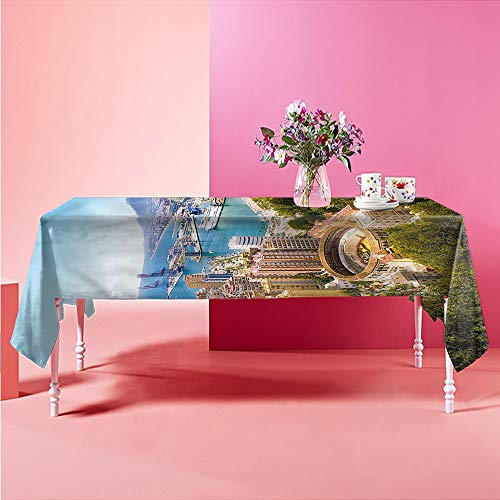 HOMEDECORATIONS Jacquard Tablecloth Landscape,Aerial View of Malaga Patio Rectangular Table Cover 70 X 90 inch (Malaga Los Patios)