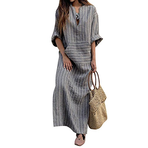 shion Women Long Kaftan Striped Long Sleeve Loose Maxi Dress (Kaftan Long Sleeve)