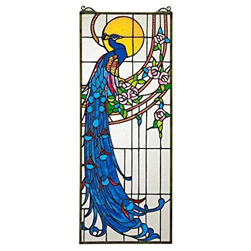 Peacock Stained Glass Panel - Design Toscano Stained Glass Panel -Peacock's Sunset Stained Glass Window Hangings - Window Treatments