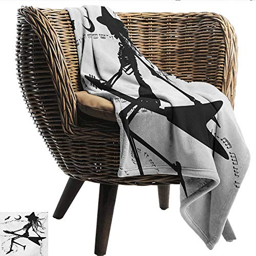 Davishouse Music Home Throw Blanket Witch Flying on Electric Guitar Notes Bat Magical Halloween Artistic Illustration Sofa Chair 70