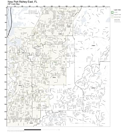 Amazon Com Zip Code Wall Map Of New Port Richey East Fl Zip Code