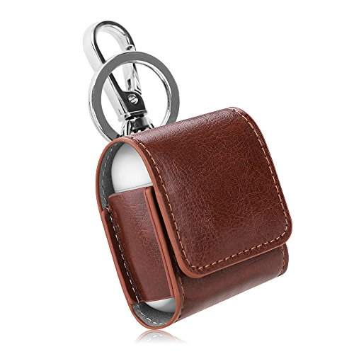 Fintie AirPods Case, Premium PU Leather Magnet Closure Protective Portable Cover Skin with Metal Clasp and Keychain for Apple AirPods 1 and AirPods 2 Charging Case, Brown ()