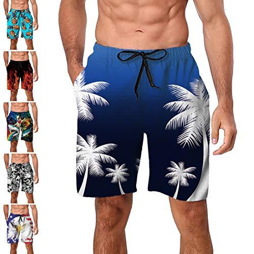 Freshhoodies Mens Hawaiian Swim Trunks Coconut Palm Tree Boardshorts with Mesh Lining Swimwear Bathing Suits Shorts (Style A1, ()