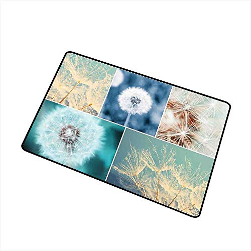 RelaxBear Dandelion Welcome Door mat Blooming Dandelion Flowers Fluffy Soft Purity Fragrance Natural Organic Color Collage Door mat is odorless and Durable W29.5 x L39.4 Inch Blue ()