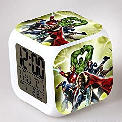 Enjoy Life : Cute Digital Multifunctional Alarm Clock With Glowing Led Lights and stickered Avengers Thor Captain America Hulk Good Gift For Your Kids , Comes With Bonuses Part 2 (13)