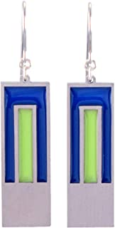 product image for Modern American Made Stainless Steel Color Field Earrings, Navy Blue Lime Green