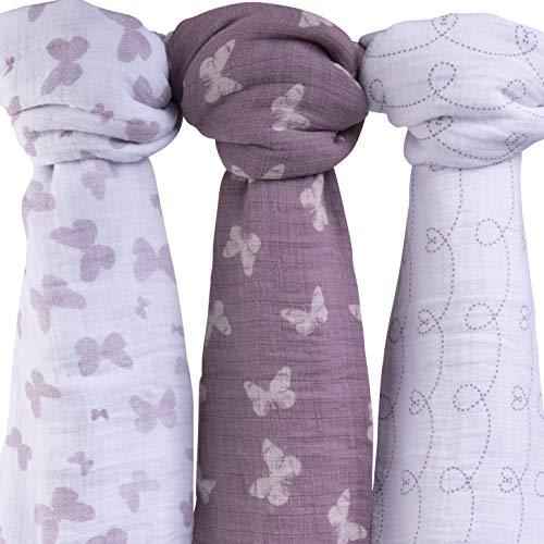 Muslin Swaddle Blanket 100% Soft Muslin Cotton 3 Pack 47x 47 (Lavender Butterfly)