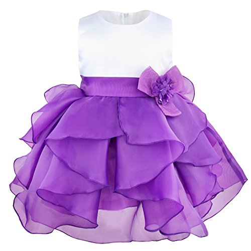 FEESHOW Baby Girls Ruffle Flower Baptism Dress Christening