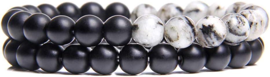 Pulsera de piedra con cuentas de malaquita hechas a mano, de 8 mm, de ónix negro natural, para mujeres, hombres, pulseras de yoga, joyería