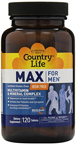 Life 120 Tabs (Country Life Max For Men Maxi-Sorb Multi-Vitamin & Mineral, 120-Tablet)