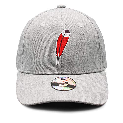 Cleveland Basketball Feather Indian Unisex Top Level Low Profile Athletic Baseball Fitted Caps Hat Men's Women's Wool Material Classic Grey ()