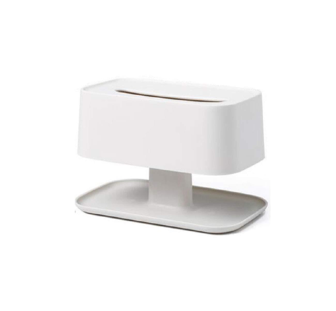 Trutyii Multi-Function Tissue Box Living Room Coffee Table Paper Remote Control Storage Box Creative Simple Cute Home Home European Multi-Function Double-Layer Simple Tissue Box (Color : White)