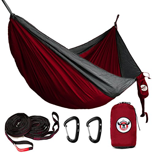 (Iron Moose Outfitters Outdoor Double Camping Hammock Gear Set Includes Tear Resistant Rip-Stop Nylon Hammock fits Two Person, 12KN Wiregate Carabiners and Heavy-Duty Tree Straps (RED))