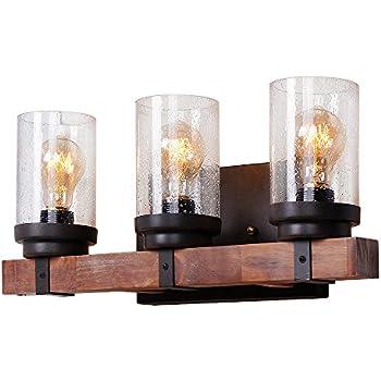 Kichler Lighting 3 Light Barrington Distressed Black And Wood Bathroom Vanity Light Amazon Com