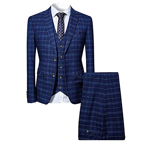 Mens 3 Piece Slim fit Checked Suit Blue/Black Single Breasted Vintage Suits,Large,Blue
