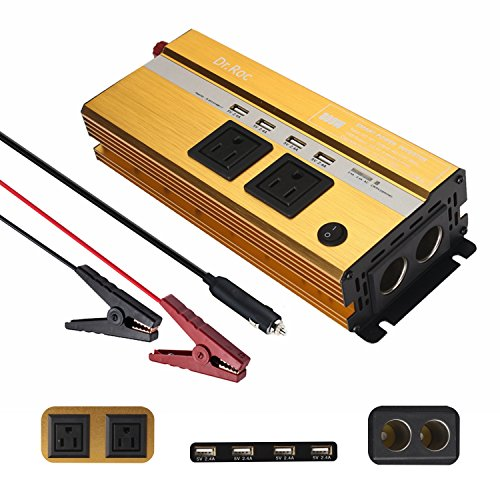 800W Power Inverter DC 12V to 110V AC Power Converter for Household Appliances Car electronics Car Adapter Charger for Laptop Phone Game Console- 6.8A 4 USB Charger,2 AC Outlets,2 Cigarette holder