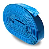 Blue 2'' x 100' Uncoupled Lightweight PVC Lay Flat Pool Discharge Hose and Backwash Hose