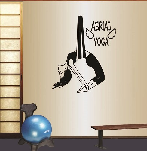 Wall Vinyl Decal Home Decor Art Sticker Silhouette Aerial Yoga Words Sign Anti-Gravity Yoga Pose Girl Woman Exercise Meditation Relax Room Removable Stylish Mural Unique Design For Any Room Creative (Aerial Wall)