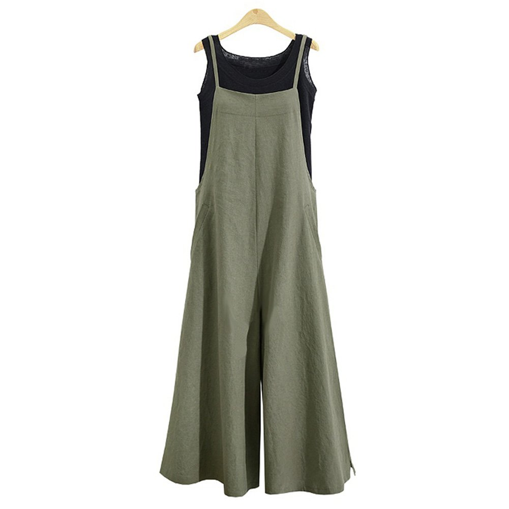 Women's Jumpsuit Casual Loose Long Suspender Twin Side Bib Pants Large Size (L, Green)