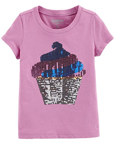 Osh Kosh Girls' Toddler Sequin Short-Sleeve T-Shirt, Purple Cupcake, 3T