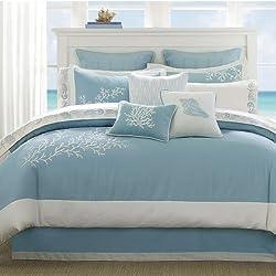 Harbor House Coastline Cal King Size Bed Comforter Set - Blue, Jacquard Coastal Coral – 4 Pieces Bedding Sets – 100% Cotton Bedroom Comforters