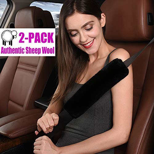 Australian Genuine Sheepskin Lamb Wool Auto Seat Belt Covers - 2Pcs Pack Stylish and Soft Seatbelt Shoulder Pads for Adults and Kids